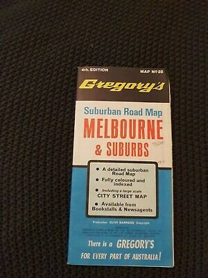 Melbourne & Suburbs Surburban Road Map - Gregory's Map No. 35, 4th Ed. - c.1960s