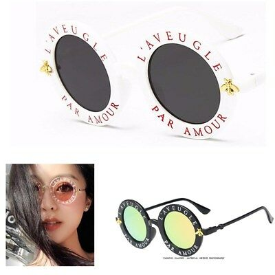 Sunglasses Retro Round Circle Classic Bee Letters Eyewear Glasses Women Men