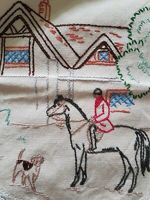 Vtg Hand Embroidered Large Doily W English Cottage Equestrian Rider & Dog