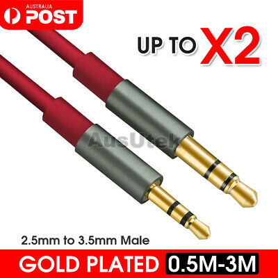 Stereo 2.5mm to 3.5mm Plug Male Audio Adapter Cable Headphones Car MP3 Aux Jack