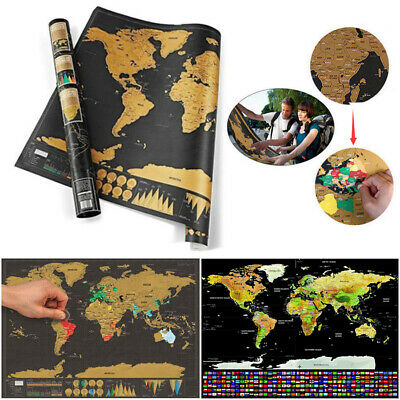 Deluxe Creative Travel Scratch Off World Map Poster Journal Small Journal Map