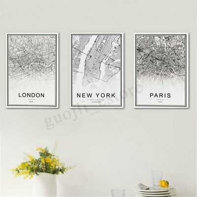 World City Map Abstract Poster Nordic Art Prints Canvas Painting Home Wall Decor