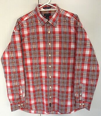 GANT Mens Vintage Cotton Shirt Plaid Check Red Brown White - Size XXL