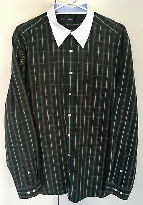GANT Mens Vintage Cotton Shirt Plaid Tartan Check Green Navy - Size XXL