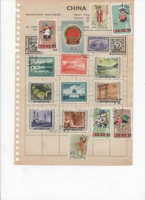 is56 China 2 sides album page 44 stamps mixed condition