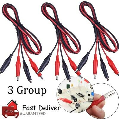 6PCS Double Ended Crocodile Alligator Clip Electric Test Cable Connector Wire US