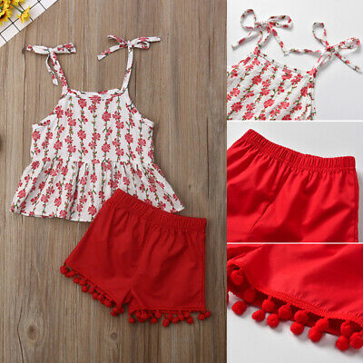 US 2pcs Toddler Kid Baby Girl Clothes Floral Sleeveless Tops+Shorts Outfits Set