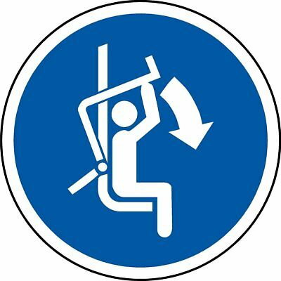 ISO Safety Label Sign - International Close safety bar of chairlift Symbol