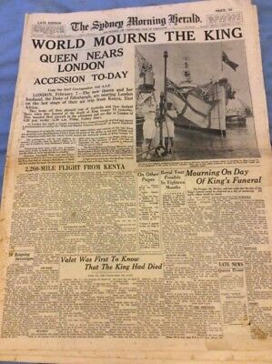 Sydney Morning Herald - World Mourns the King - Feb 8 1952