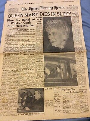 Sydney Morning Herald Cover - Queen Mary Dies - Mar 26 1953