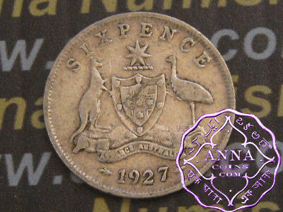Australia 1927 George V Sixpence X1, Average Circulated Condition