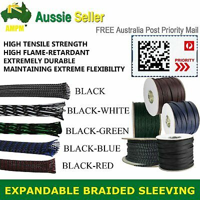 Expandable Braided Sleeving φ-6mm PET Cable Wire Sleeve Flame Retardant 5-Colors