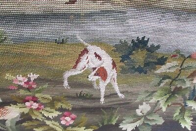 Beautiful Vintage French Hand Stitched Wool Tapestry Country Scene W/hanging Rod