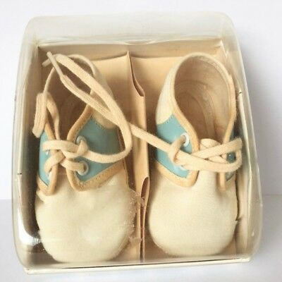 Mrs. Day's Ideal Vintage Baby Shoes Off White Blue w/ Box Style 73 Size 0