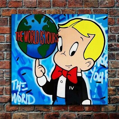 Alec Monopoly The World is Yours Hand painted oil painting on canvas 24x24""