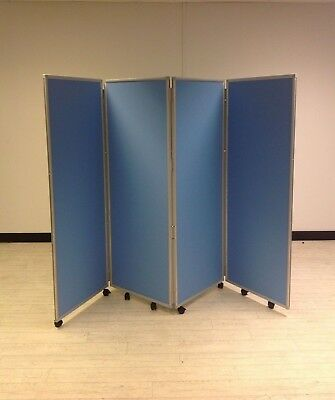 4 Panel Mobile Intervene Ice Antimicrobial  Concertina Divider Partition Screen