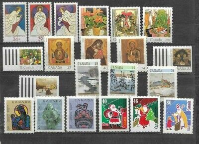 pk41821:Stamps-Canada Lot of 21 Assorted Christmas Issues - MNH