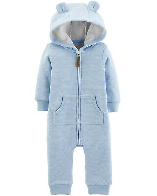 44c769b6f Carters Baby Boy Clothes 6 Months Fleece Lined Hooded Jumpsuit Coveralls  Blue