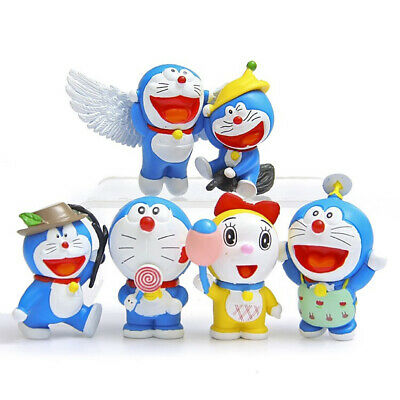 Doraemon Robot Wings Angel Anime Action Figure Cute Doll Toy 6 PCS Gift For Kids