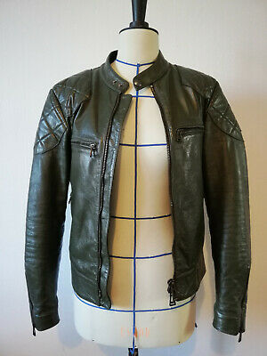 Belstaff Outlaw Racing Green Leather Jacket Size IT46 UK SMALL RRP£1400 Mens