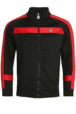 Mens Track Top FILA VINTAGE Renzo Stripe Track Jacket | Black/Chinese Red