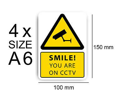 4x CCTV Smile your on CCTV Sign Vinyl Stickers, Security, Camera,Warning Decal