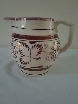 Gray's Pink Lustre Hand-Painted Jug Grape and Leaf  Backstamped with Clipper