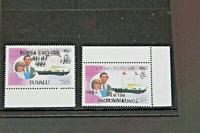 Tuvalu 1982 - 45C Errors - Double Surcharge And Inverted Surcharge  - Mnh