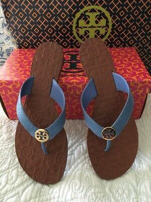 e2ce6b702b72 TORY BURCH THORA Flip Flop Thong Sandals Chambray Blue Leather Gold Size 8  New