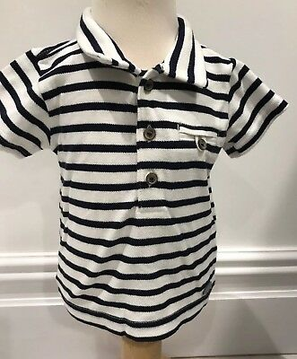 Brand New Baby Boys Marks And Spencer Autograph Short Sleeved Polo Shirt 0-3m