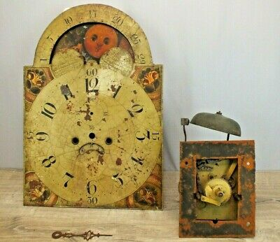 C1810 Tall Case Grandfathers Clock Parts  Brass Movement with Rolling Moon Dial