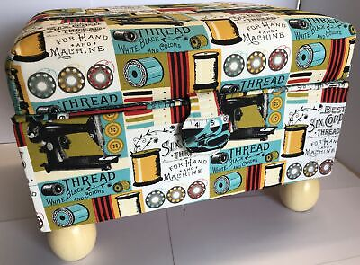 Large Footstool Sewing Box Basket Blue/Red Sewing Notions Design Storage Gift