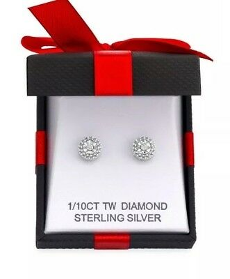 1/10 CT TW Double Halo Diamond Stud Earrings in Sterling Silver - New in Box!