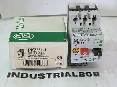 MOELLER MOTOR STARTER PROTECTOR PKZM1-1 1 AMP A 1A 660V W// AUX CONTACT NHI 10