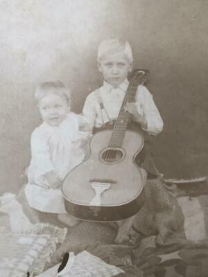 Antique Cabinet Card Victorian Photo Little Boys with Guitar on Quilt Country