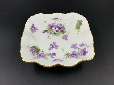 Hammersley Victorian Violet Square Candy Nut Sweet Dish Bone China England