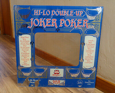 Vintage Glass SMS Joker Poker Bar Arcade Gambling Machine Video Game Frame Panel