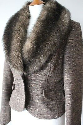 M&s Autograph Ladies Fab Jacket With Faux Fur Collar Brown Mix Size 12