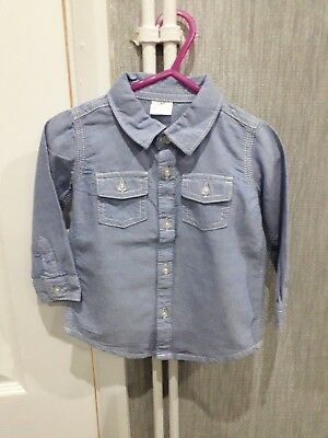 F&f Boys 9/12mths Long Sleeve Blue Shirt White Stitching