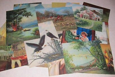 32 Vintage Litho Prints 1920's Lithograph Sailboats Landscape Hunting
