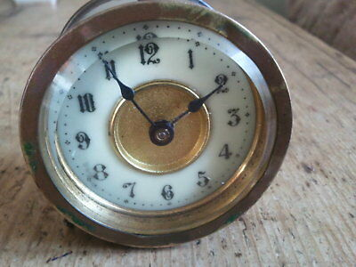 Vintage Small Brass 30 Hour Hac Desk Mantle Clock Runs Project Reloj