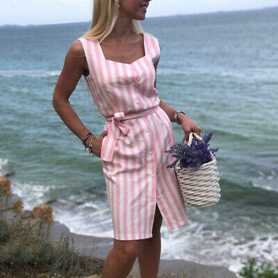 Summer Women's Striped Bow Belted Dresses Single-Breasted Midi Shirt Dress G