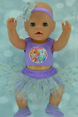 """Play n Wear Doll Clothes 17""""Baby Born SKIRT/BUILT-IN TIGHTS~TOP~HEADBAND~BOOTIES"""