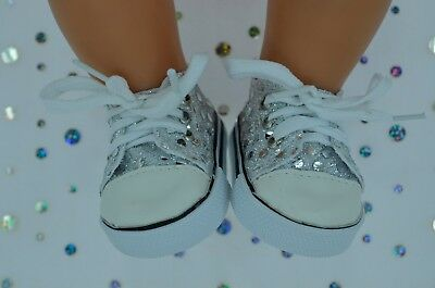 """Dolls Shoes For 17""""Baby Born~18""""American Girl SILVER SEQUIN RUNNERS"""