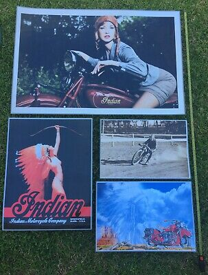 Indian Motorcycle Poster x4 LAMINATED, Vintage Indian Motorcycle add Prints x4
