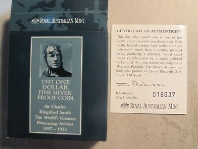 1997 Sterling (.925) Silver Proof Sir Charles Kingsford Smith $1.00