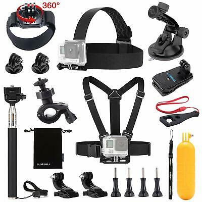 Action Camera Gopro Accessories Kit Extreme Sports Trips Ski Tripod Straps MORE