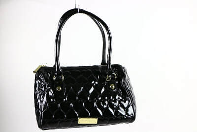 Betsey Johnson Gloss Black Heart Quilted PVC Classic Tote Shoulder Bag