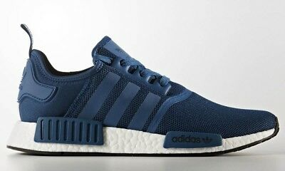 40d5a51988b0 Adidas NMD R1 Nomad Blue Night Black White Boost Runner Shoes BY3016 Mens  Sz 8.5