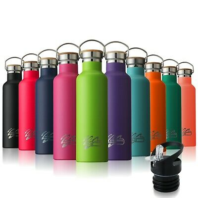 Stainless Steel Water Bottle Double Wall Vacuum Insulated Sports Gym Metal Flask